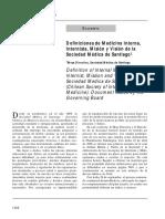Definiciones de Medicina Interna, Internista, Misión y Visión de La Sociedad Médica de Santiago1
