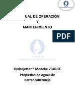 Manual de Operación Hidrojetter