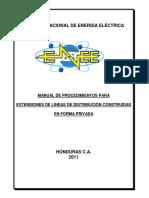 Manual de Procedimientos Para La Extension de Lineas de Distribucion Construidas de Forma Privada