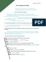 the development of writing worksheet key