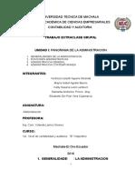 Unidad-i-panorama de La Administracion. Administración Funciones Generalidades Grupo 1