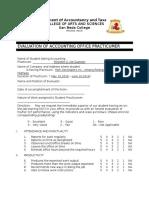 Evaluation Form for OJT