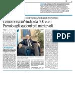 Università, cento borse di studio da 500 euro - Il Resto del Carlino dell'8 luglio 2016