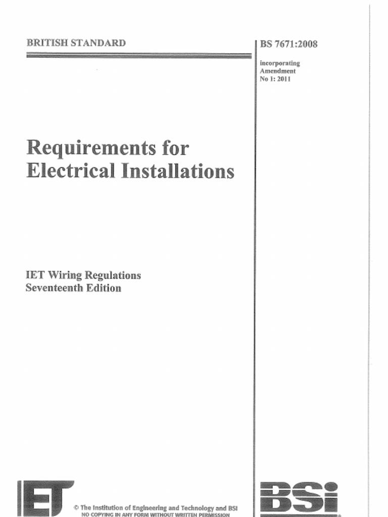 Bs7671 2008 Iet Wiring Regulations 17th Edition Amendment 1