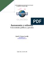 Porras, Raúl. Autonomía y reforma. Universidades públicas y privadas