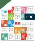 Calendário Anual de Fácil Visualização Para 20161