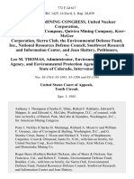 American Mining Congress, United Nuclear Corporation, Homestake Mining Company, Quivira Mining Company, Kerr-Mcgee Corporation, Sierra Club, the Environmental Defense Fund, Inc., National Resources Defense Council, Southwest Research and Information Center, and Jean Slattery v. Lee M. Thomas, Administrator, Environmental Protection Agency, and Environmental Protection Agency, State of Colorado, Intervenor, 772 F.2d 617, 10th Cir. (1985)