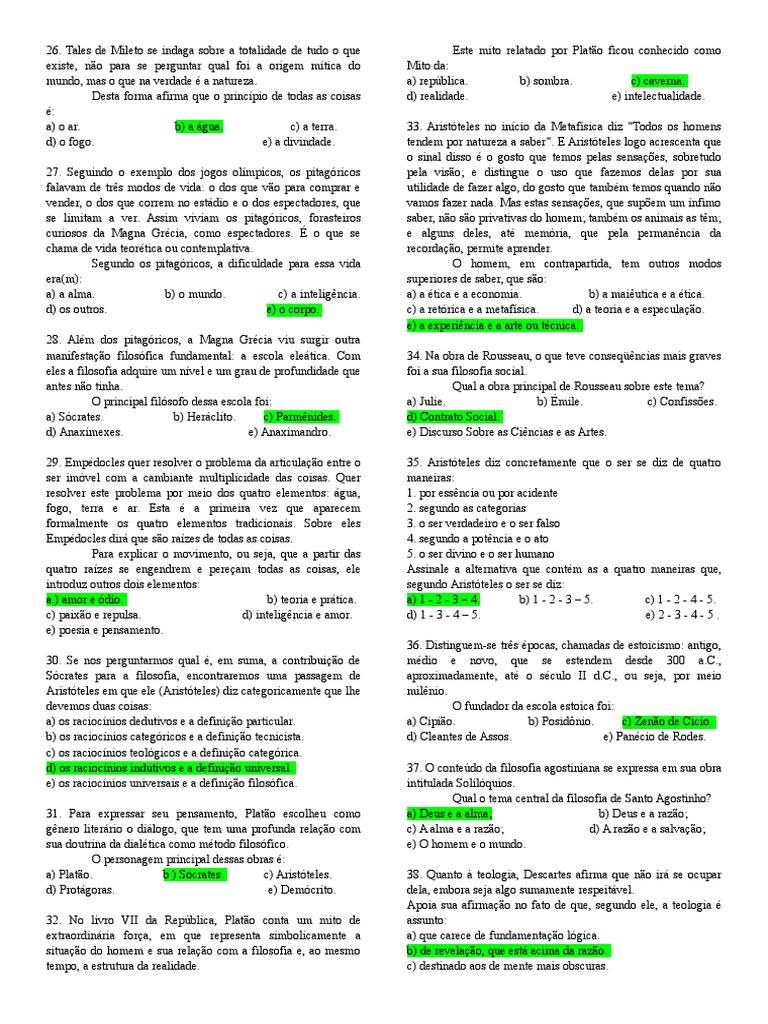 5654f3de12 Questões de Filosofia Gabaritadas