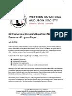 Bird Surveys at Cleveland Lakefront Nature Preserve – Progress Report
