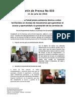 Boletín 033 Secretaría de Salud Presta Asistencia Técnica a Entes Territoriales