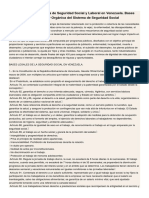 Estructura Del Sistema de Seguridad Social y Laboral en Venezuela