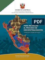 Informe Anual de Evaluación. Periodo 2015-2016. Para relanzar el proceso de descentralización. Contribuciones y desafíos del Congreso.