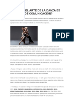 Por Qué El Arte de La Danza Es Un Medio De