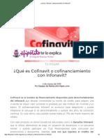 ¿Qué Es Cofinavit o Cofinanciamiento Con Infonavit
