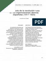 Impacto de La Revolucion Rusa en Las Organizaciones Obreras 1917-1923.