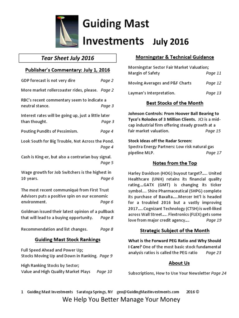 July 2016 Newsletter Guiding Mast Investments Market Trend Yield