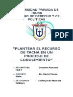 Plantear El Recurso de Tachas - DeRECHO PROCESAL CIVIL