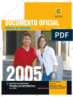 2005 Demre 20 Muestra Preguntas Matematica