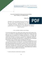 FALLOS CONSTITUCIONALES EN MATERIA ELECTORAL EN ARGENTINA Alber to Ri car do DALLA VÍA