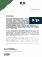 Lettre de Bernard Cazeneuve