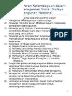 Fungsi Dan Peran Kelembagaan Dalam Mengelola Keragaman Sosial Budaya Untuk Pembangunan Nasional