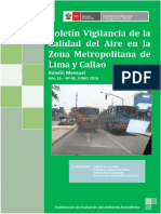 Boletín Vigilancia de la Calidad de Aire en la Zona Metropolitana de Lima y Callao