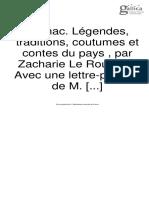 Zacharie Le Rouzic, Carnac Légendes, Traditions, Coutumes Et Contes Du Pays