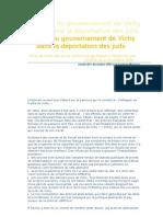Le rôle du gouvernement de Vichy dans la déportation des juifs
