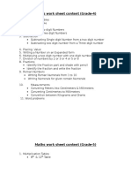 Maths work sheet contents(for Grade 4 to 7).docx