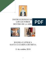 ICSCS, Instrucciones Para Los Lectores Dentro de La Misa