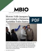 11-03-2016 Diario Cambio - Moreno Valle Inaugura La Universidad a Distancia en Xochitlán Todos Santos