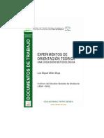Experimentos de orientación teórica. Una discusión metodológica.