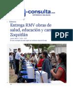 17-03-2016 E-Consulta - Entrega RMV Obras de Salud, Educación y Campo en Zoquitlán