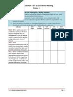 1st grade writing standards teacher checklist