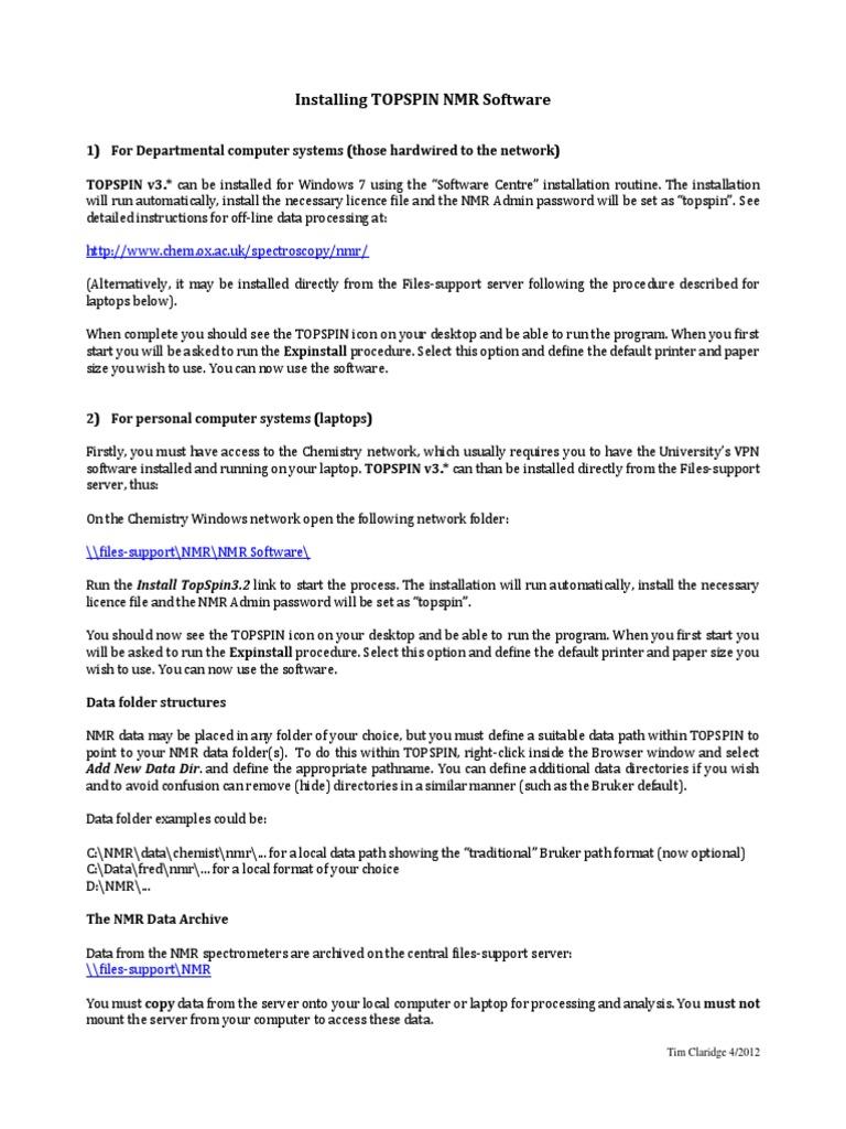 Installing TOPSPIN | Directory (Computing) | Installation