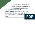 G. ECHEVARRÍA, Roberto y PUPO-WALKER, E. Historia de La Literatura Hispanoamericana. Tomo 2. Del Descubrimiento Al Modernismo. El Siglo XX.