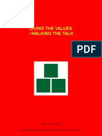 Living The Values - Walking The Talk