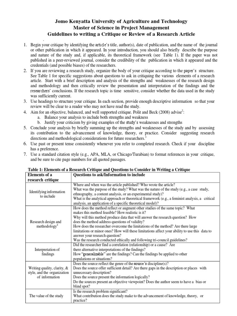 Wrting a critique of a journal article- Msc Project pdf