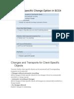 SAP Client Specific Change Option in SCC4