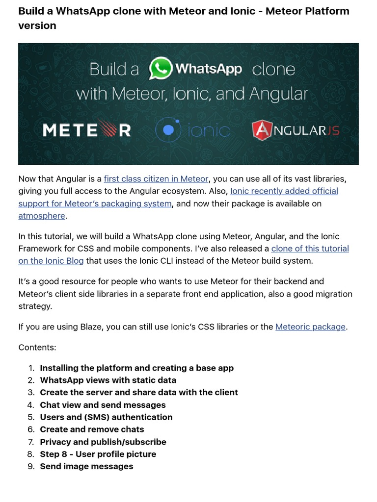 Build a WhatsApp Clone With Meteor and Ionic - Meteor Platform