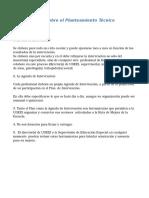 Precisiones de Sobre El Planteamiento Técnico Operativo
