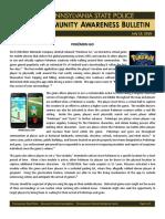 Pennsylvania State Police bulletin on Pokemon Go