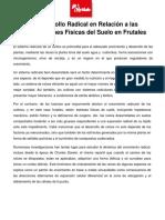Desarrollo Radical en Relación a Las Condiciones Físicas Del Suelo en Frutales