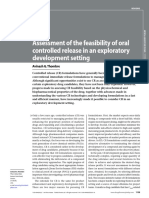 Assessment of the Feasibility of Oral Controlled Release in an Exploratory Development Setting