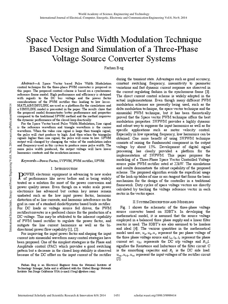 Space Vector Pulse Width Modulation Technique Based Design And Voltage To Duration Converter Simulation Of A Three Phase Source Systemspdf Rectifier Power
