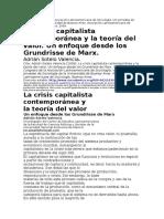 La Crisis Capitalista Contemporánea y La Teoría Del Valor Un Enfoque Desde Grundrisse
