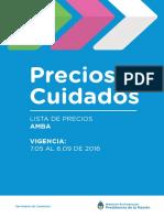 Listado de Productos PRECIOS CUIDADOS 2016
