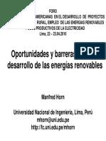 Oportunidades y Barreras Para El Desarrollo de Las Energías Renovables