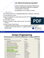 Ranking of Universities in Ocean Engineering