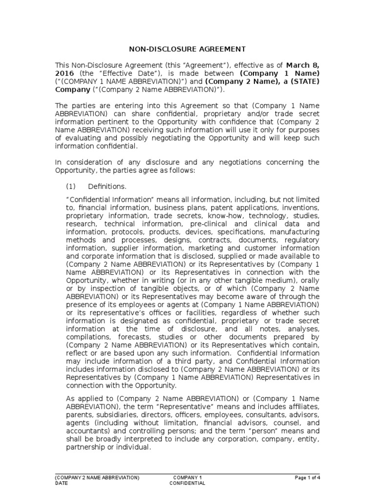 Sample Non-disclosure Agreement | Non Disclosure Agreement